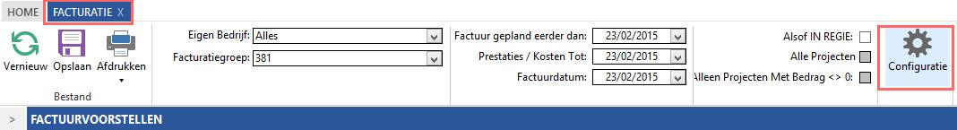 Facturatie > Configuratie