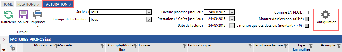 Facturation : configuration