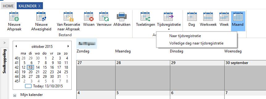 Kalender - menu