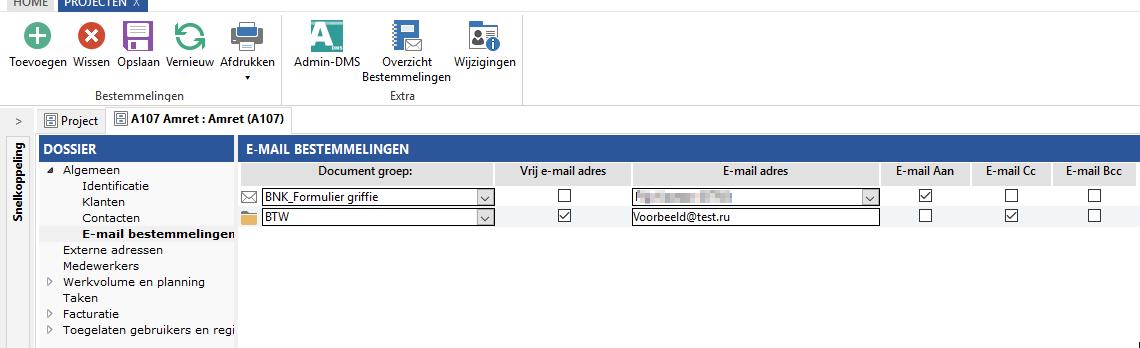 Destinataires des e-mails