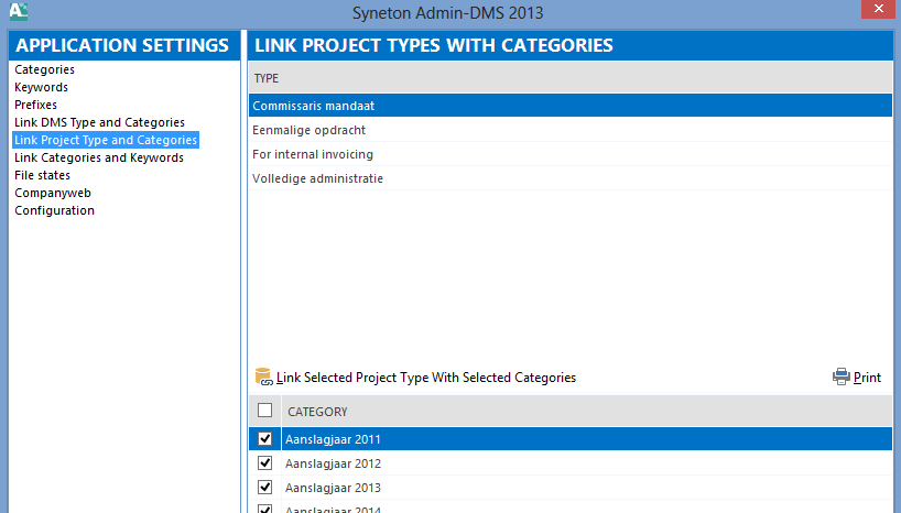 Application settings : link Project types and Categories